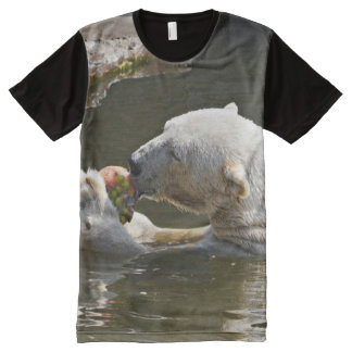 Polar Bear Eating In Water All-Over Print T-Shirt