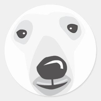Polar Bear Face Classic Round Sticker