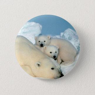 Polar Bear Family 6 Cm Round Badge
