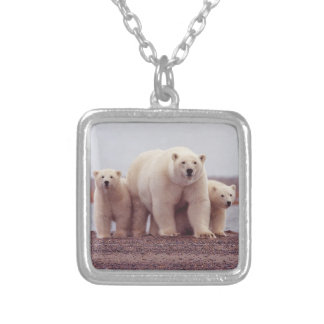 Polar Bear Family Silver Plated Necklace