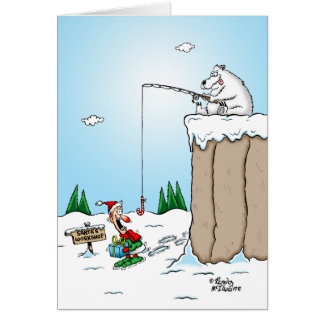 Polar Bear Fishing for Elves Christmas Card
