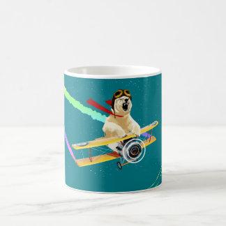 Polar bear flying biplane coffee mug