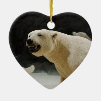 Polar Bear Grin Ceramic Heart Decoration