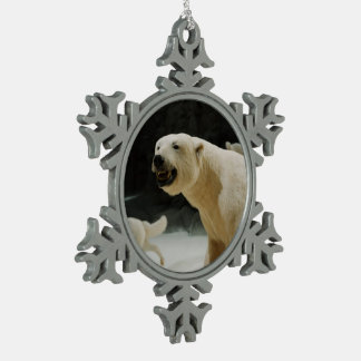 Polar Bear Grin Pewter Snowflake Decoration