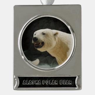 Polar Bear Grin Silver Plated Banner Ornament