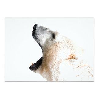 Polar bear growl 13 cm x 18 cm invitation card