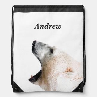 Polar bear growl drawstring bag