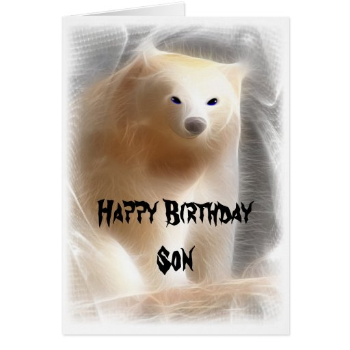 Polar Bear, Happy Birthday Son Greeting Card