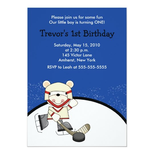 Polar Bear Hockey Sports Birthday Invitation