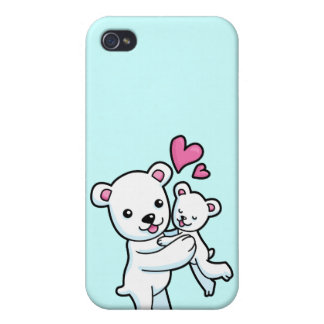 Polar Bear hugging Baby bear iPhone 4/4S Cases
