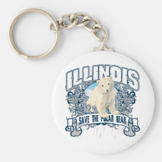 Polar Bear Illinois Basic Round Button Key Ring