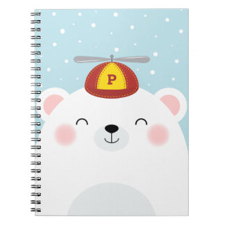 Polar Bear in a Propeller Hat with Initial Notebook