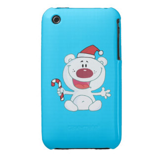 Polar Bear in a Sant Hat Holding a Candy Cane Case-Mate iPhone 3 Cases