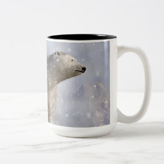 Polar Bear in a Snowstorm Two-Tone Coffee Mug