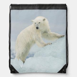 Polar bear in summer drawstring bag
