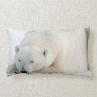 Polar Bear in winter Lumbar Cushion