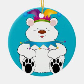 Polar Bear Jester Round Ceramic Decoration