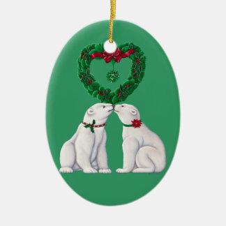 Polar Bear Kiss Ceramic Oval Decoration