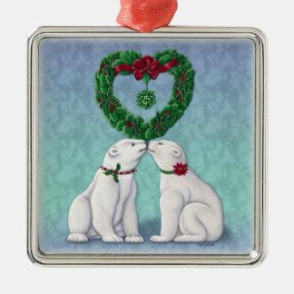 Polar Bear Kiss Ornament Ornament