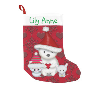 Polar Bear, Kitty and Mouse Personalized Stocking