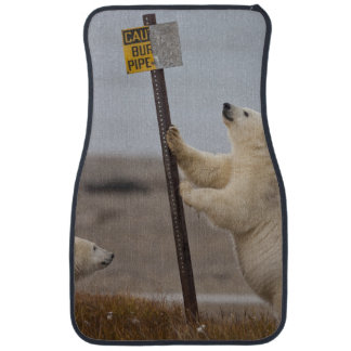 Polar bear leans on sign for buried pipe floor mat