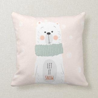 Polar bear - Let it snow - Cute Winter / Christmas Cushion