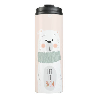 Polar bear - Let it snow - Cute Winter / Christmas Thermal Tumbler