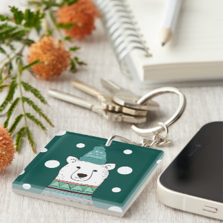 Polar Bear Let It Snow Single-Sided Square Acrylic Key Ring