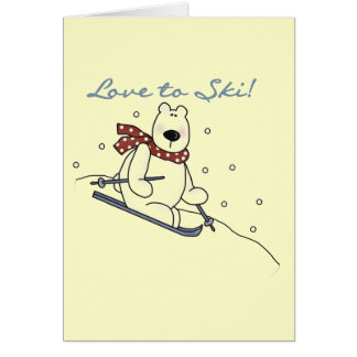 Polar Bear Love to Ski T-shirts and Gifts Greeting Card