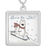 Polar Bear Love to Ski T-shirts and Gifts Square Pendant Necklace
