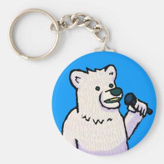 Polar Bear Mike Basic Round Button Key Ring