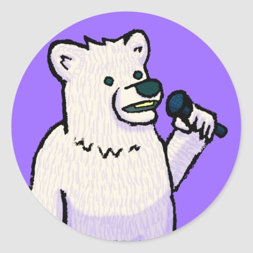 Polar Bear Mike Round Stickers