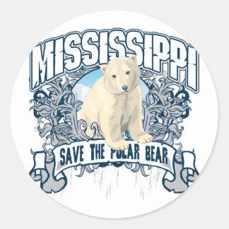 Polar Bear Mississippi Round Stickers