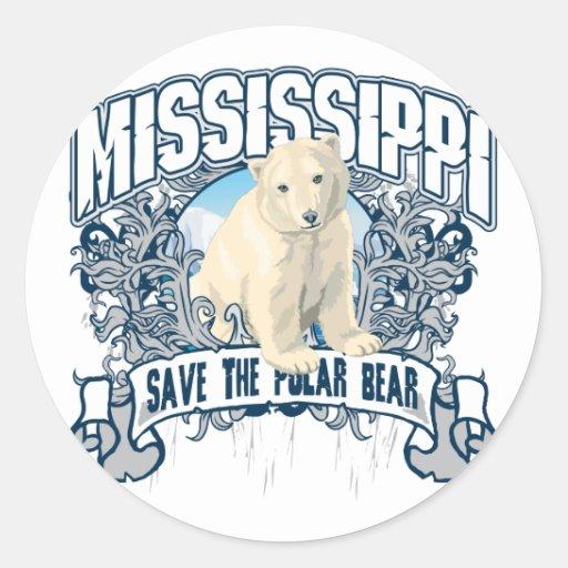 Polar Bear Mississippi Round Sticker