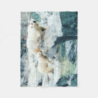 Polar Bear Mom and Cub Fleece Blanket