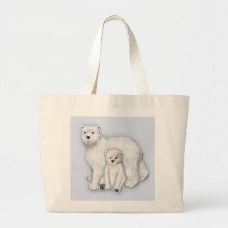 Polar Bear Mom and Cub. Large Tote Bag