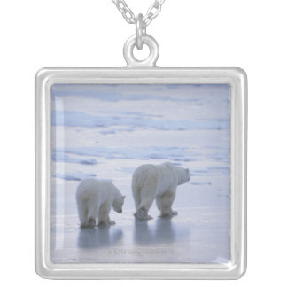 Polar Bear Mother and Cub Silver Plated Necklace