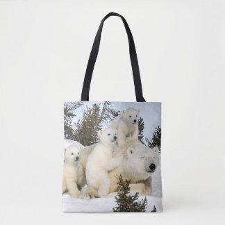 Polar bear mother & cubs tote bag