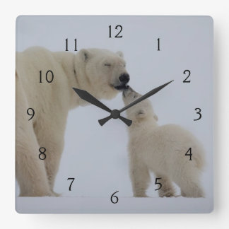 Polar Bear mother with cub Clock