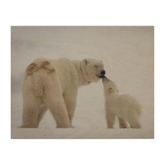 Polar Bear mother with cub Wood Wall Art