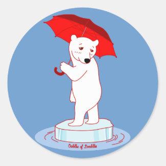 Polar Bear needs an Umbrella Doodle Art Sticker