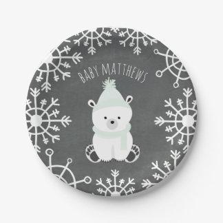 Polar Bear Neutral Winter Baby Shower Paper Plate