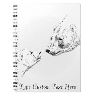 Polar Bear Notebook Personalized Bear Art Notebook