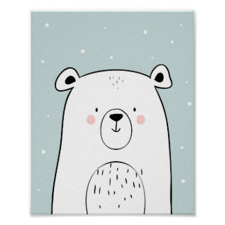 Polar bear Nursery Wall Art Print Mint black white