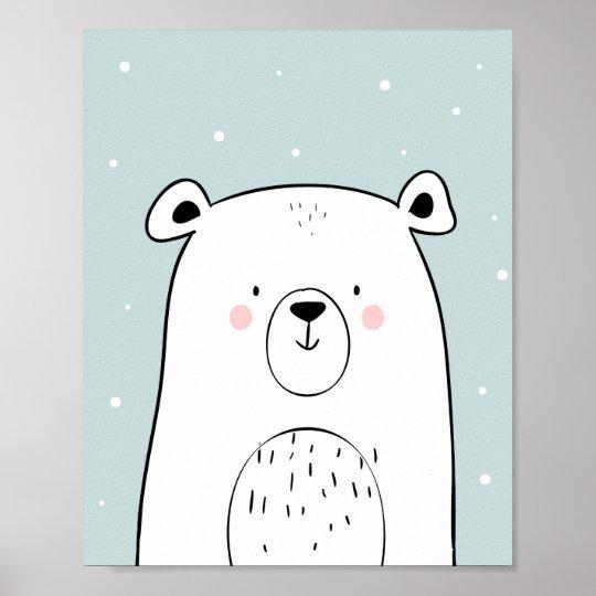 Polar bear Nursery Wall Art Print Mint black