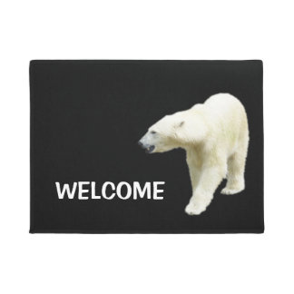 Polar Bear on Black Welcome Doormat