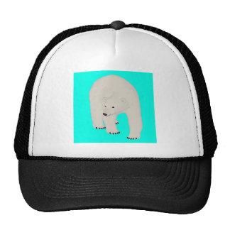 Polar Bear on Bright Turquoise Mesh Hats