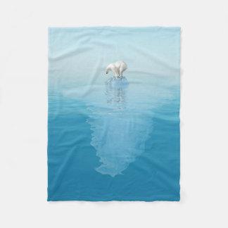 Polar Bear on Iceberg Small Fleece Blanket