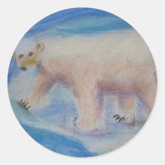 Polar bear on shrinking ice classic round sticker