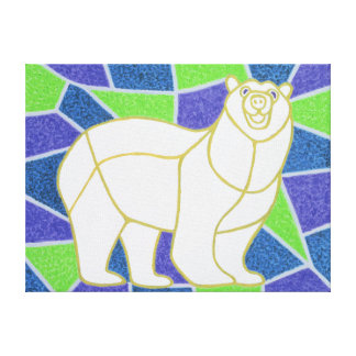 Polar Bear on Stained Glass Canvas Print